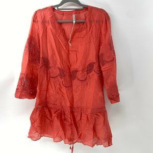 monoreno silk blend embroidered top sz M New Coral